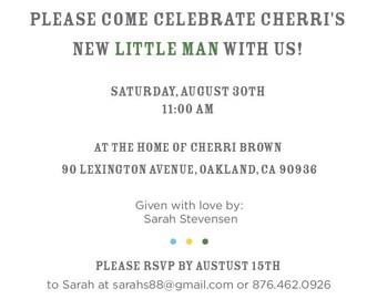 Little Man Bowtie Baby Shower Invitation Suite