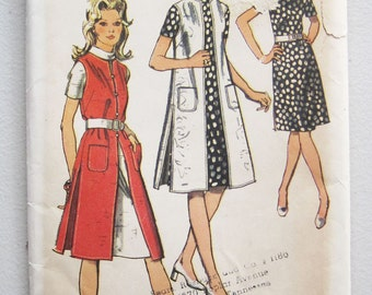 1971 Vintage Simplicity Dress Vest Coat Pattern 9269 Size 10 Bust 32 1/2  Uncut