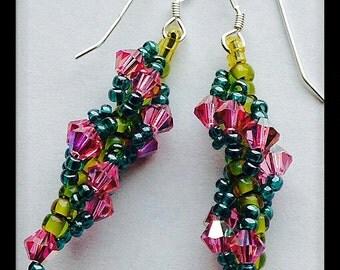 Pink and Green Beaded Earrings, Swarovski Crystal Earrings, Small Dangle Earrings, Spring and Summer Earrings, Spiral Earrings