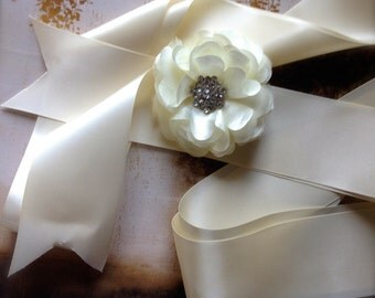 Jeweled satin sash. Weddings. Women and girls. Your choice of mix and match colors