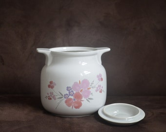 JMP Cookie Jar - Galleria Collection - Stoneware - Pink Flowers With Gray Lid -  1985