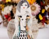 Greyhound, Dog Brooch, Miniature Animals, Girl Figurine, Original Drawing, Handmade Jewellery, Dog Lover Gift, Chien Broche, Air Dry Clay