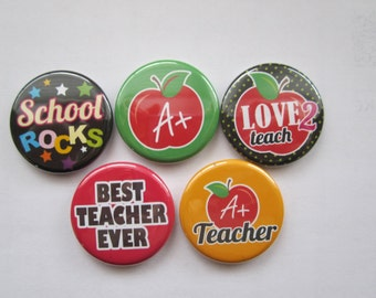 Magnets set of 5 button  mini 1 inch or 1.25 inch teacher magnets you choose the size
