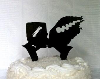 Frankenstein and Bride Silhouette Wedding Cake Topper Monster Halloween Cake Topper Monster Cake Topper Frankenstein Wedding Cake Topper
