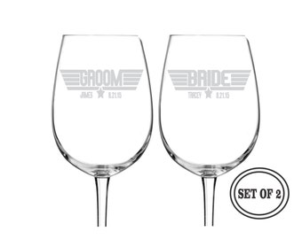 2 Top Gun PERSONALIZED WINE GLASSES with Names and Date Bride & Groom Pilot Wine Glass Wedding Gift Engraved Beer Glasses Etched Wine Glass
