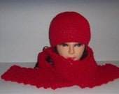 Red Crochet Beanie Hat and Scarf Set, Womans Accessories, Gifts for Women, MADE TO ORDER