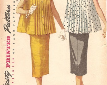 Vintage 1950s Maternity Blouse and Skirt Pattern - Simplicity 1099 - Bust 30