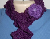 Dark plum curly scarflette with flower accent//accessories//scarf//gifts for her//20% off use code: ClearanceSale