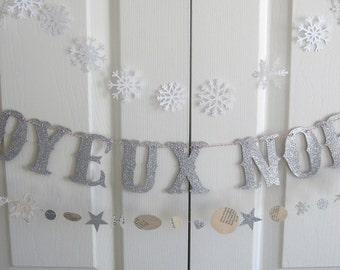 JOYEUX NOEL Christmas Gothic Glitter Letter Banner Garland