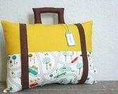 Suitcase Pillow - Travel Theme - Decorative Pillow - Nursery - Adventure