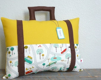 Suitcase Pillow - Travel Theme - Decorative Pillow - Nursery