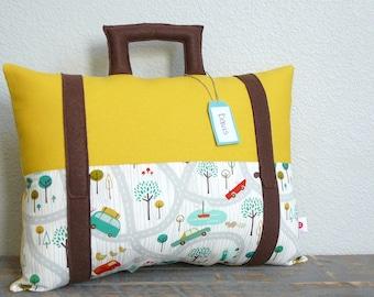 Suitcase Pillow - Travel Theme - Decorative Pillow - Nursery