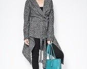 Coat with a Hood / Asymmetrical Hoody Cardigan / Extravagant Coat / Oversize Designer Coat / Asymmetric Coat - MC075