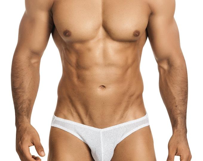 White Glitter Erotic Men's Bikini Underdwear by Vuthy Sim - 447
