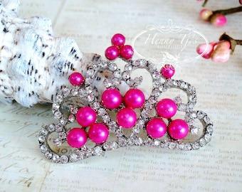4 pcs FUCHSIA / HOT PINK Pearls Stunning Tiara Crowned Princess crystal Rhinestone Buttons, Crystal Tiara Bow Embellishment