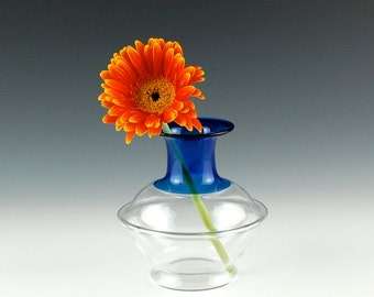 Hand Blown Glass Vase, Cobalt and Clear