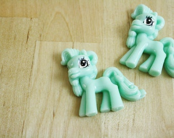 2 Little Pony Cabochons Green Pastel 35mm [CAB7187]