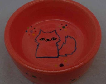 Salmon Colored Ceramic Cat Bowl * Cat Food Bowl * Cat Water Bowl * Cute Kitty *  Salmon Colored Cat Bowl