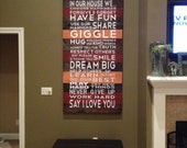 Family Rules 60x22 BIG Vinyl Decal Home Decor Door Wall Lettering Words Quotes