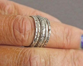 Stacking Ring Set, Sterling Silver Stacking Ring Set