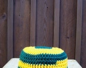 clearance- boys beanie, crochet hat, beanie, team spirit, gold and green hat for boys, size 4 years old, vegan friendly, 9352