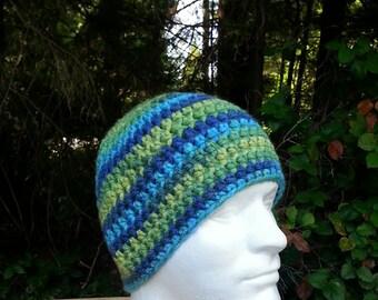 mens hat, boys beanie, crochet hat, blue, green, yellow, vegan friendly, man hat, multi-colored, youth/adult