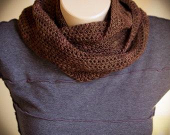 Dark Chocolate Brown Soft Malabrigo Merino Wool Infinity Scarf, Crochet, Cowl, Warm - Made by Kim