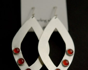 Carnelian and Brushed Sterling Silver Earrings - marquise shape - ready to ship
