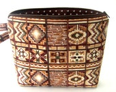 Zippered Wristlet Pouch/Makeup Bag/Clutch/Purse - Native American Southwestern Brown, Tan, Cream