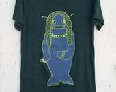 Three Monsters: Hairfish Guy - hand printed silk screened creative men's graphic tee shirt