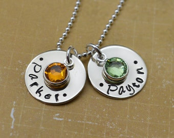 Personalized Mommy Necklace, Hand Stamped Jewelry, Custom Necklace, Mom, Mommy, Mother, Birthstone