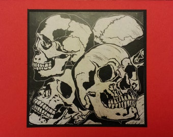 5 Skull Notecards on Red or Green