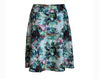 "Travel Skirt in Funky Mint, Gray and Pink Crystalline Print, ""Kaleidoscope"" Skirt"