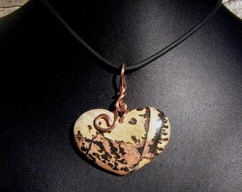 Landscape Jasper Heart Pendant, Large, Copper Wire Wrap