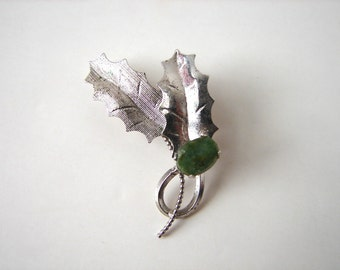 Vintage Sterling Holly Brooch Jade and Silver Leaf 50s Pin by Helene