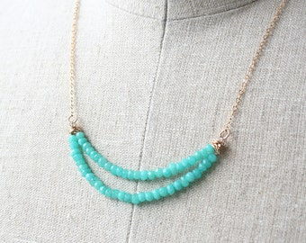 Blue Green Necklace, Gemstone Jewelry, Beaded Necklace