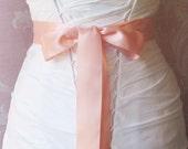Double Face Apricot Satin Ribbon, 1.5 Inch Wde, Pale Coral Pink Bridal Sash,  Salmon Pink Ribbon Sash, Wedding Belt, 4 Yards