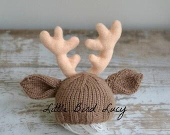 Reindeer Hat, Christmas, Baby Deer Hat, Knit Infant Photo Prop, Newborn, 0-3, 3-6 Months, Rudolph Rein Deer, Custom Antler Colors, Holidays
