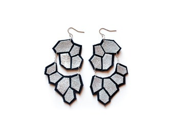 Silver Dangle Earrings, Modern Leather Earrings, Hexagon Geometric Earrings, Big Statement Earrings, Black and Metallic Jewelry