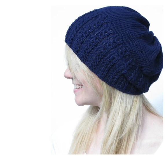 Faux Cable Slouchy Hat Knitting Pattern PDF by haloopajoop on Etsy