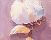 purple garlic kitchen art oil painting giclee print - 5 x 7 - Garlic sur la Violette