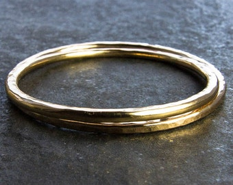 SPECIAL PRICE: 14K Goldfill Bangles. Set of Two. Thick Hammered Bangles. Custom Bracelet, Custom Jewelry. Rustic Elegance. Gift For Her