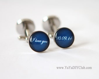 Mens Cufflinks, Personalized Wedding Gift Groom Gift, Anniversary gift for him, Blue Cufflinks Custom Color STAINLESS STEEL