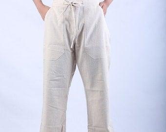 100 percent hand woven Natural hemp pants Off white NEW