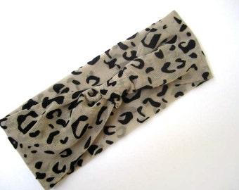 Turban headband Animal print mesh fabric