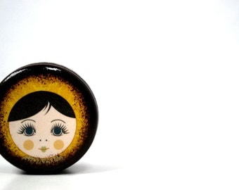 Doll Face Pill Box - Dark Hair Babushka Doll - Stocking Stuffers