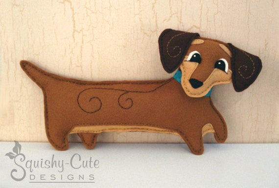 Dachshund Sewing Pattern PDF - Dog Stuffed Animal Felt Plushie - Doodle The Dachshund - Instant Download