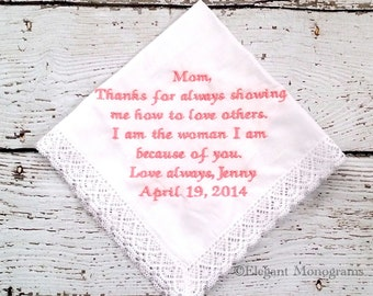 Personalized Embroidered Wedding Hanky for Mother of Bride or Mother of Groom Park Ave Lace