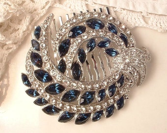 Sapphire Bridal Hair Comb 1920s Art Deco Navy Blue Rhinestone Vintage Silver Pave Crystal Brooch to Headpiece Great GATSBY Wedding Accessory