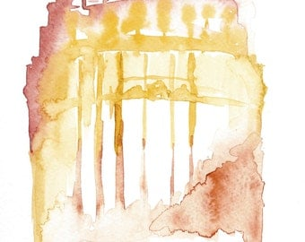 Buffalo City Hall Watercolor Painting Print- Original Artwork Print of Art Deco Building Architecture